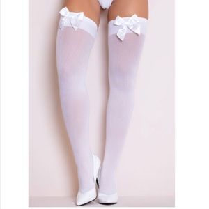 white thigh highs with satin bow